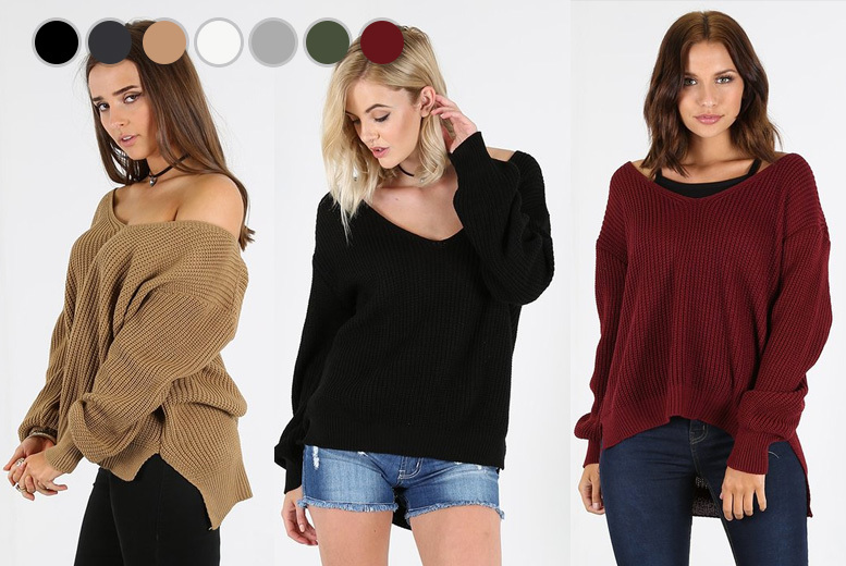 Oversized Off-Shoulder Jumper - 7 Colours!