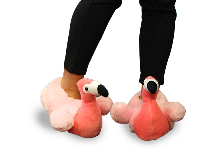 Flamingo Plush Slippers – UK Sizes 12-8! from £9.99