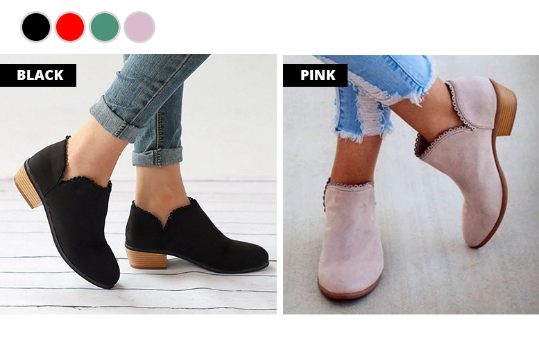 Faux Suede Ankle Boots – 4 Colours & 4 Sizes for £9.99