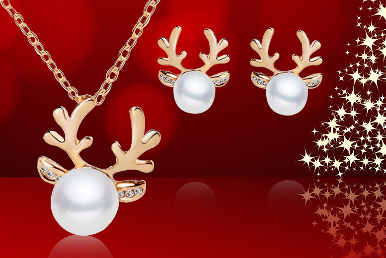 Reindeer Necklace & Earrings Set - 2 Colours!