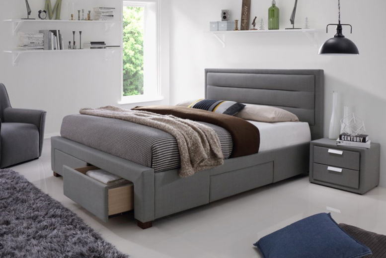 Sana Pearl Grey Fabric 4-Drawer Storage Bed w/ Optional Mattress