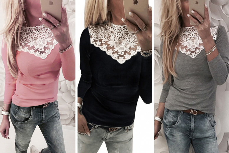 Lace Neck Long Sleeved Top - 3 Colours & UK Sizes 8-12!