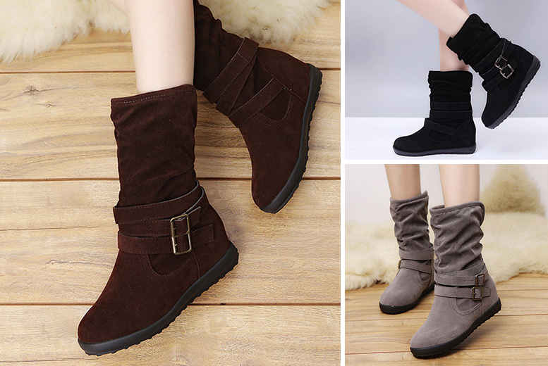 Women's Solid Colour Flat Boots – UK Sizes 3-8 & 3 Colours! for £12.99