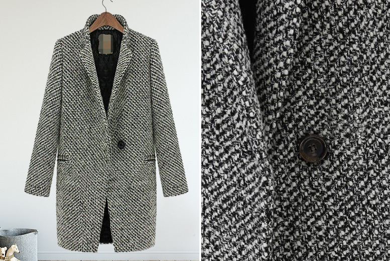Women's Textured Button Coat - UK Sizes 10-18