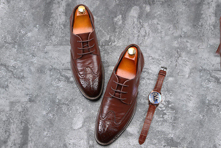 Men's Leather Brogues – 4 Colours & UK Sizes 8-12! for £24.99