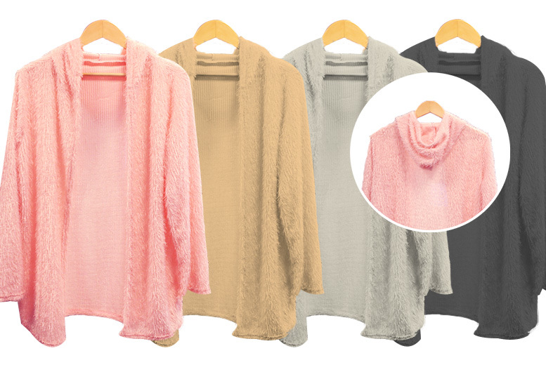 Fluffy Hooded Cardigan - UK Sizes 8-16 & 4 Colours!