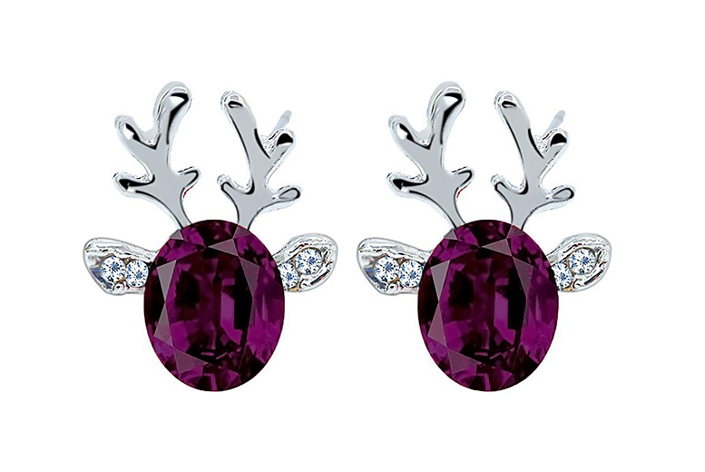 Christmas Reindeer Crystal Earrings