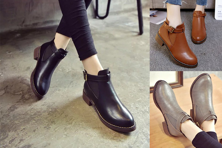 Buckle Strap Chelsea Boots - UK sizes 3-8 & 2 Colours!