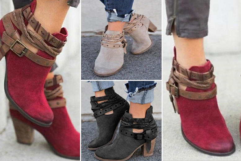 High Heel Buckle Boots - 3 Styles!