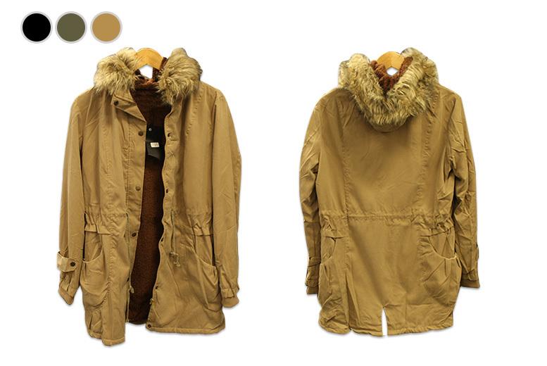 Faux Fur Lined Parka Jacket – 3 Colours & UK Sizes 12-16!