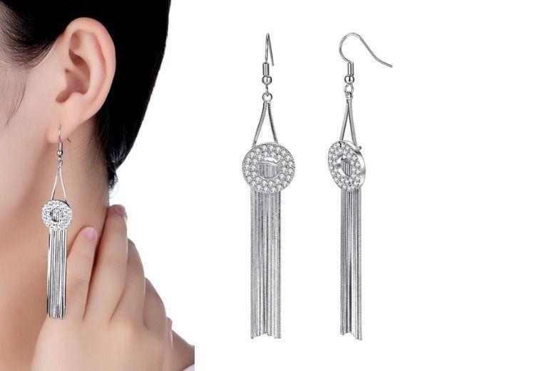 Cubic Zirconia Crystal Drop Earrings