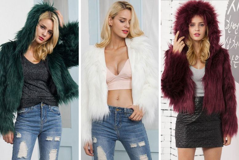Long-Sleeved Faux Fur Hooded Winter Coat – 5 Colours & 3 Sizes! for £19
