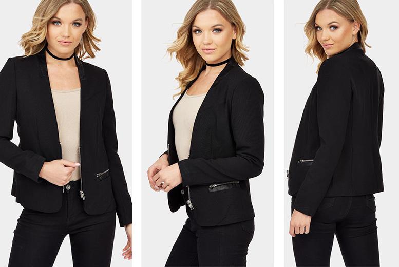 Black PU Collar Jacket – UK Sizes 8-14!