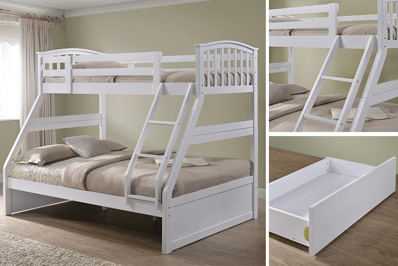 Wooden Triple Sleeper Bunk Bed w/ Optional Drawers & Mattresses