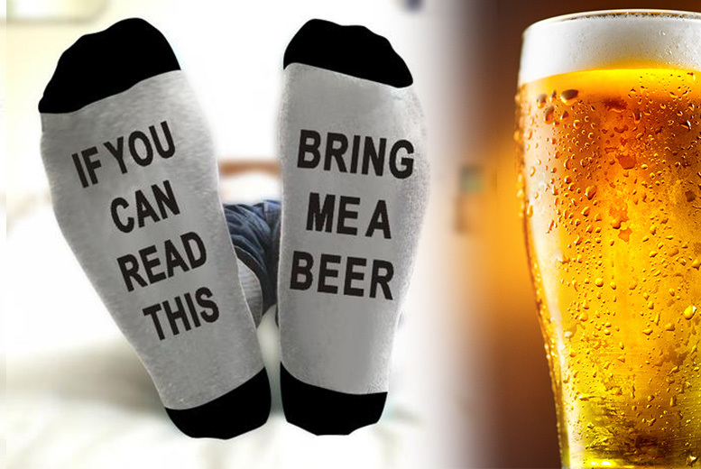 Bring Me A Beer' Novelty Socks – 1 Pair! for £2.99