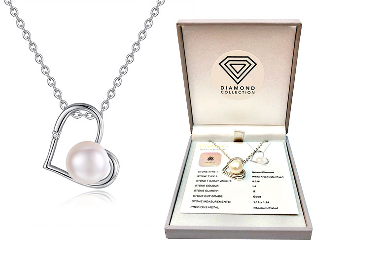 Natural Diamond & Freshwater Pearl Pendant CTTW 0.015