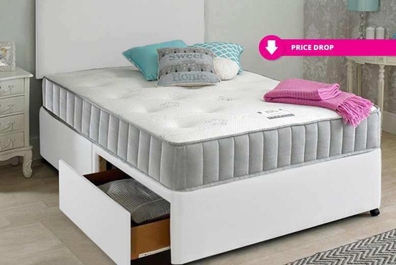Oslo Fabric Divan Bed w/ Mattress, Headboard & Optional Drawers