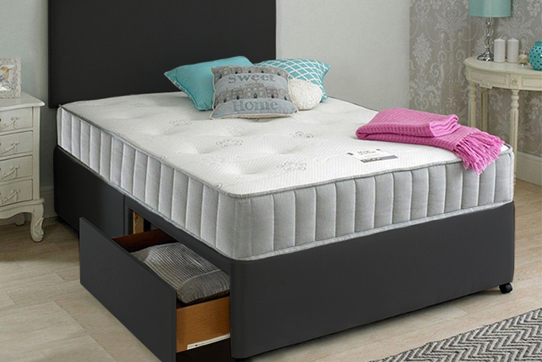 Oslo Fabric Divan Bed w/ Mattress, Headboard & Optional Drawers (£89)