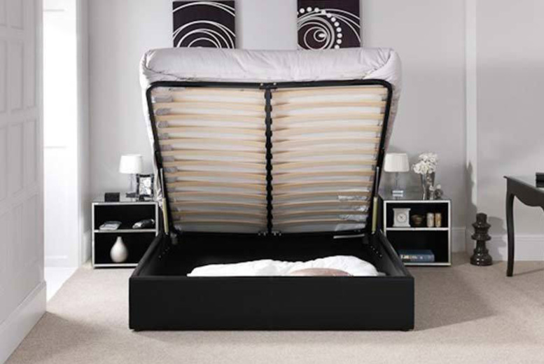 Ottoman Storage Leather Bed with Optional Mattress  3 Colours!