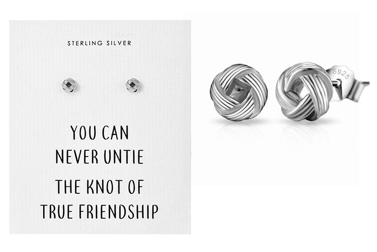 Philip Jones Sterling Silver Friendship Knot Stud Earrings
