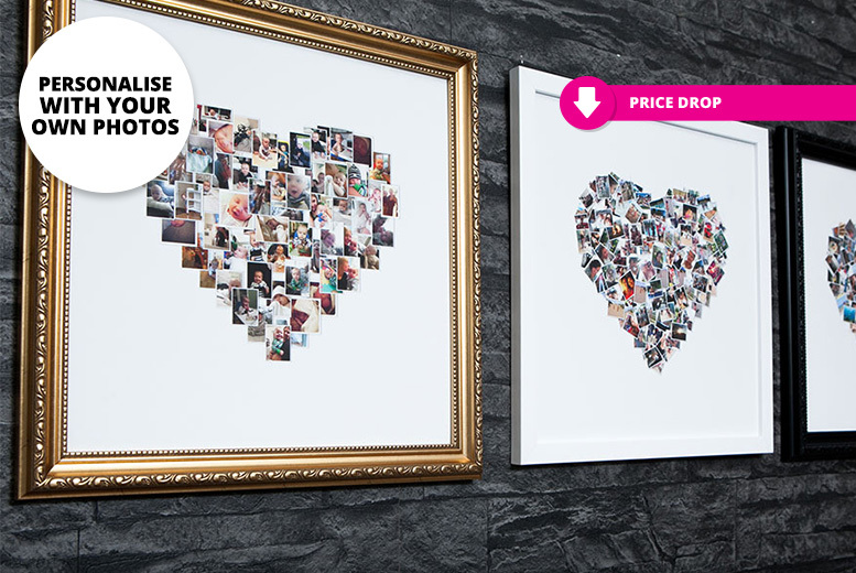 Personalised Classic-Framed Heart Photo Collage – 2 Sizes! from £4.99