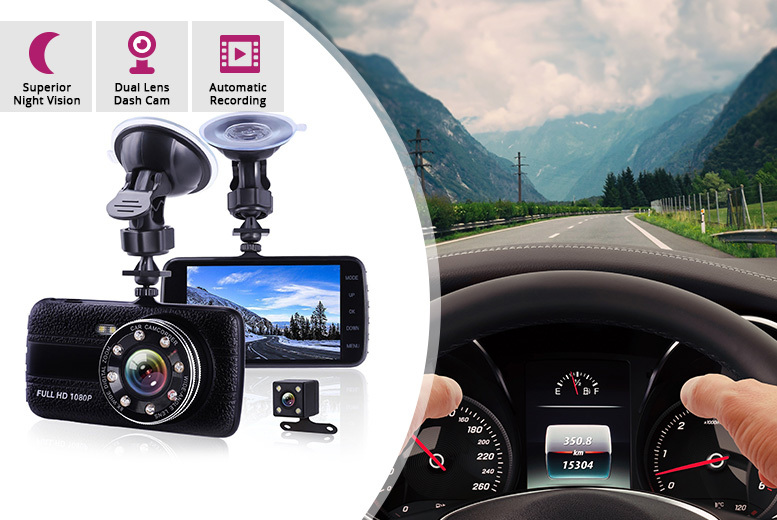 4th Gen 1080p HD Front & Rear Widescreen Dash Cam – 32GB SD Option! for £24.99