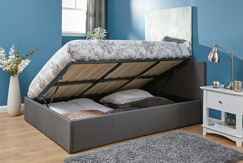 End or Side Lift Fabric Ottoman Bed with an optional memory foam mattress! from £129