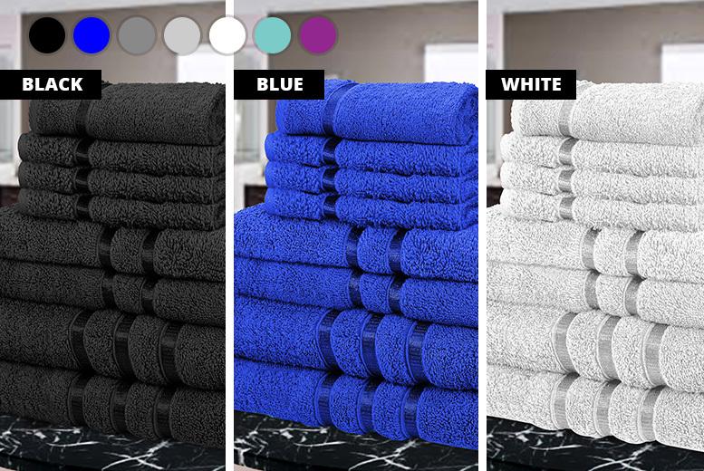8pc Satin Stripe Towel Set – 7 Colours! for £12.99