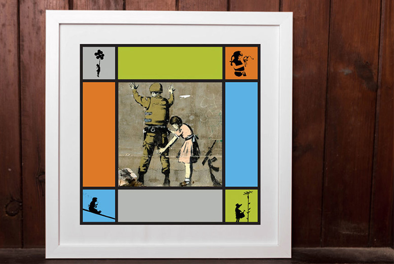 Framed Banksy Print – 2 Sizes & 20 Collage Options! from £8.95