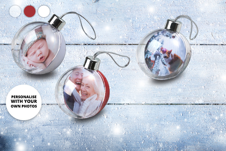 2 or 3 Personalised Photo Christmas Baubles – 3 Colours! from £10