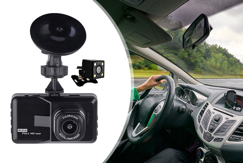 HD Dash Cam w/ Front & Rear Recorder – Optional 32GB Memory Card! from £24.99