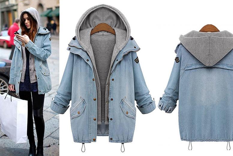 2pc hHooded denim jacket