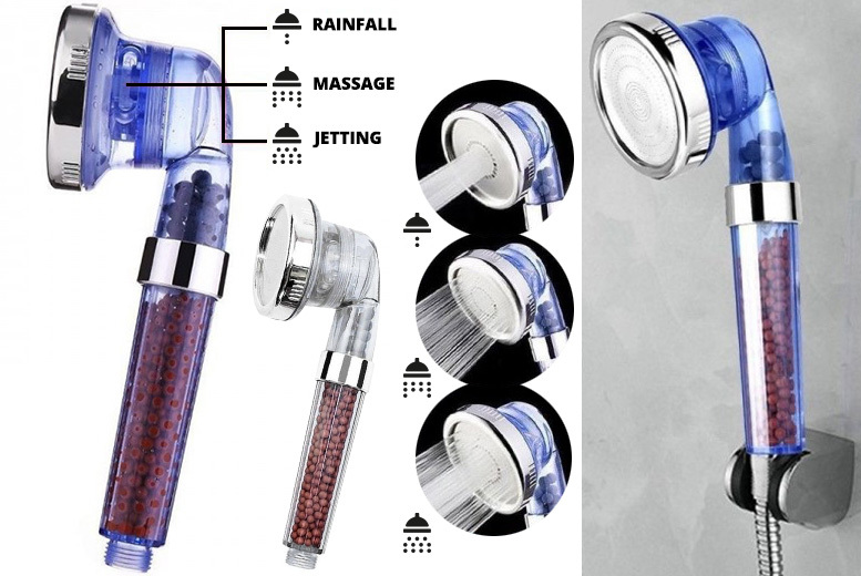 3-Function High-Pressure Shower Head – 2 Colours! for £7.99