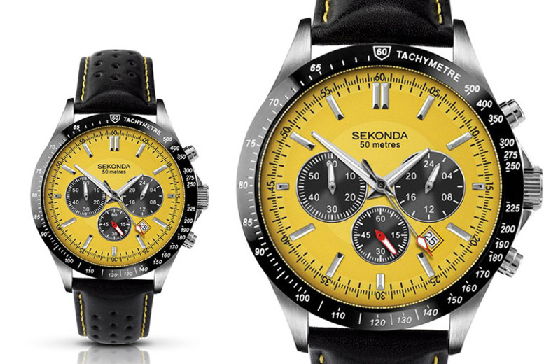 Sekonda Men's Leather Yellow Chronograph Watch