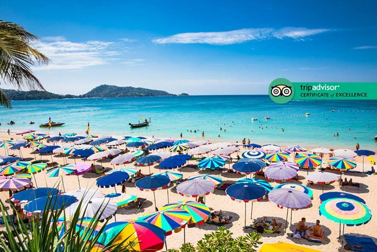 Discount 7nt 4* Phuket Deluxe Beach Getaway, B'fast, Massage & Flights for just £599.00
