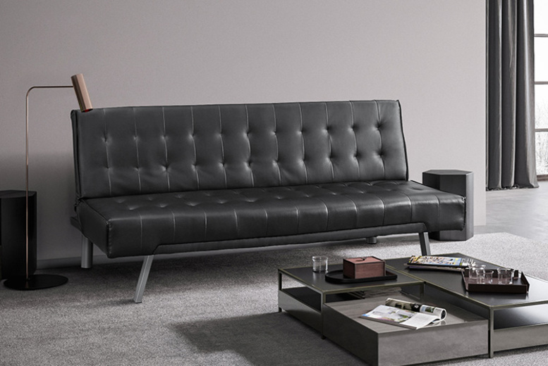 Three Seater Faux Leather Sofa Bed – 2 Colours! for £99