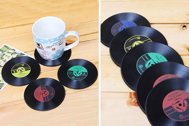 1 or 6 Vinyl Record Coasters – 4 Colours! for £0.99