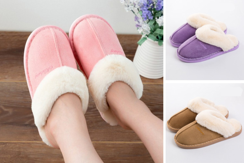 Faux Fur Mule Slippers – 3 Colours & UK Sizes 3.5-7! for £9.99