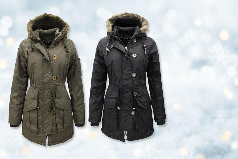 Military Faux Fur Parka Jacket – 2 Colours & UK Sizes 8-14! for £24.99