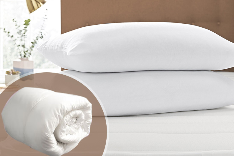 Soft-Touch Mattress Topper & 2 Pillows from £12.99