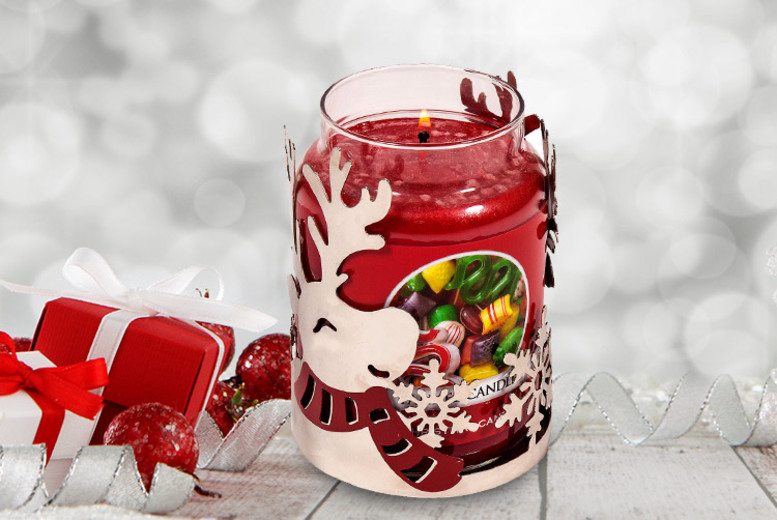 Large Yankee Christmas Candle with Reindeer Candle Holder for £19.99