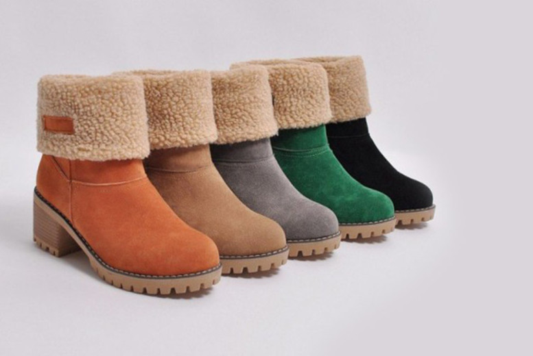Square Heeled Ankle Boots – 5 Colours & UK Sizes 4-6! for £14.99