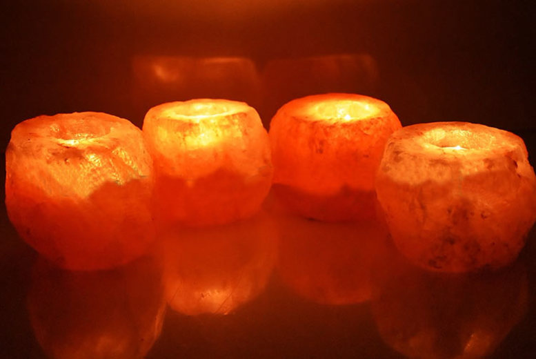Himalayan Rock Salt Tea Light Holders – 4 or 8! from £8.99