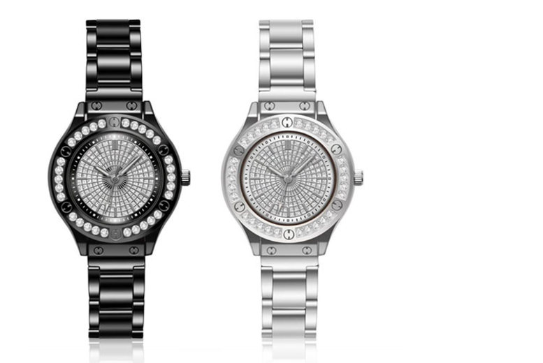 Ladies' Crystal Rivet Watch – 2 Colours! for £8.99
