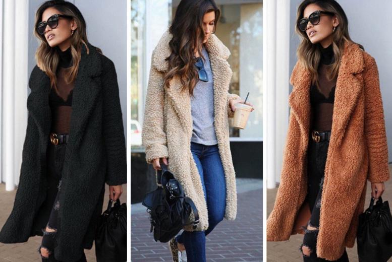 Longline Teddy Coat – 3 Colours & UK Sizes 10-14! for £19.99