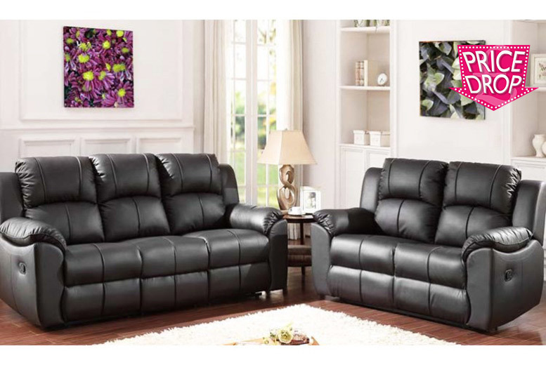 sofa set deals uk ~ reclining leather sofa set for £599 (save 69%)  daily