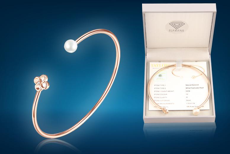 Diamond & Freshwater Pearl Flower Bangle CTTW 0.015