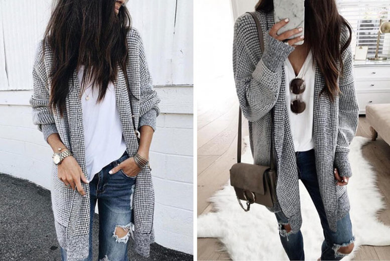 Long Black & White Check Cardigan for £12