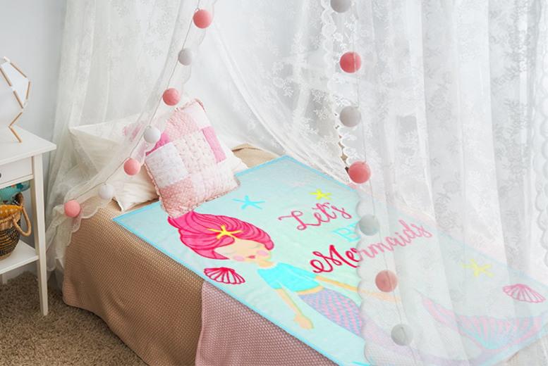 Mermaid or Unicorn Kids Soft Fleece Throw – 2 Designs! for £12.99