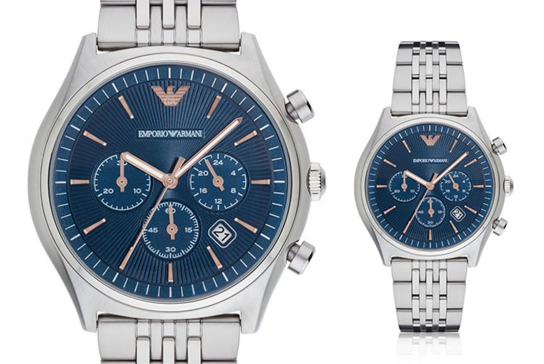 Emporio Armani AR1974 Stainless Steel Blue Chronograph Mens Watch